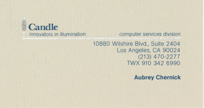 Aubrey Chernick - Second  Business Card