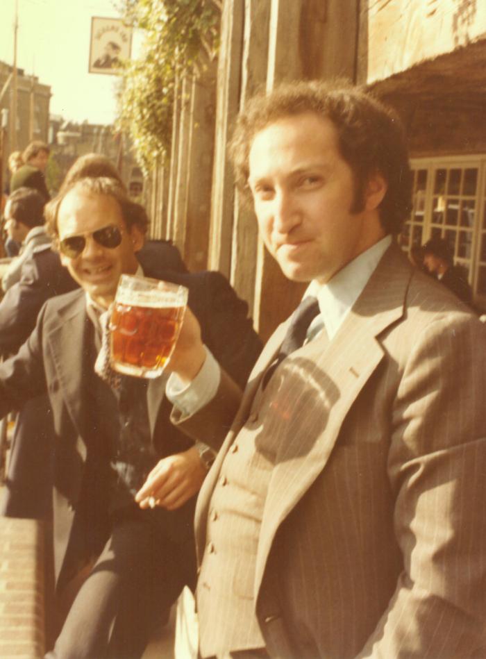 European Lunch -Aubrey Chernick - Beer, 3 Piece Suit, Side-burns
